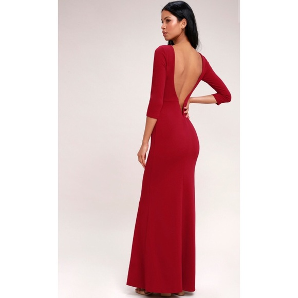 d14a655d5c8 Lulu s Kymber Wine Red Backless Maxi Dress